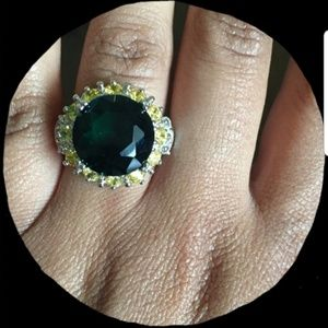 Large blue/green topaz and citrine cocktail ring